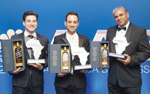 The 2014 winners of All-Africa Blue Label finale, Asher Bohbot, Fred Robertson and Gil Oved.
