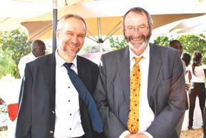 Albert Engel (left), new Country Director of the GIZ and the outgoing director, Dr Friedrich von Kenne.