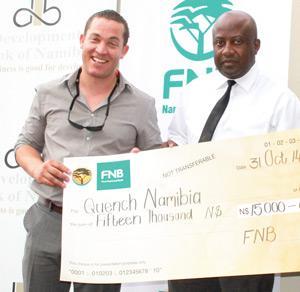 Llewellyn Dunaiski, 2nd Prize Winner with Mr Immanuel Munjoka: FNB SME Business Analyst