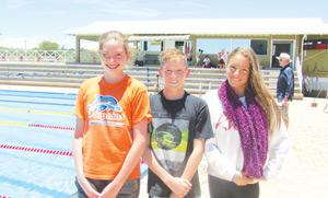F.l.t.r., Joanne Liebenberg, Corné Le Roux, Heleni Stergiadis, all from the Dolphins Swimming Club broke five records between them in the last Bank Windhoek Swimming Gala for 2014 which took place last weekend at the Olympia swimming pool in Windhoek.