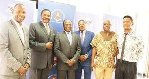 From Left to Right: Dr S. Angombe; Prof J. Diescho; Honourable Joel Kaapanda; Prof J. Kangira; Dr. P.A. Mbenzi; Dr L. Namaseb (Photograph by Cecilia Iita.)