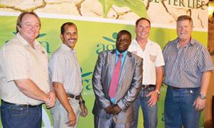 At the opening event at Opuwo: From left: Agra Operations Manager, Tobie Barlow; Opuwo branch manager, Gerrit Scholtz; the Mayor of Opuwo,  Councillor Tuarungua Kavari, Agra General Manager: Retail and Wholesale, Arnold Klein and General Manager: Finance, Flip de Bruyn