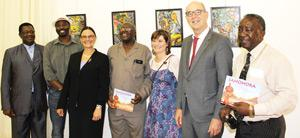At the momentous occasion of the launch of the first-ever book written in Otjiherero, German and English, Vekuii Rukoro, Paramount Chief of the OvaHerero, (left) and German Ambassador Onno Hückmann joined the publisher Bryony van der Merwe (centre left) and members of the OvaHerero community in celebration.