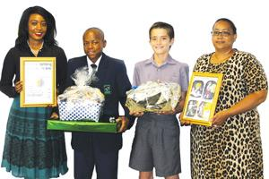 From the left, Dr Diina Shuuluka of the science commission, Remember Abner Elia Ekandjo of Rocky Crest High School; Hanro Botma of Pionierspark Primary School and Angelique Philander, also of the science commission.