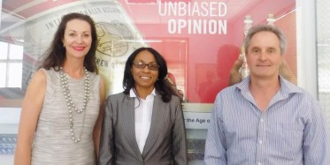 Head of Personal and Business Banking at Standard Bank Namibia , Baronice Hans, was officially welcomed by the SAB Miller team on 11 November. SAB Miller is one of the Namibia Businesswoman Projects key sponsors. The company's financial director, Mike Baldachin congratulated Hans and expressed his excitement of what Hans has in store for the future, stating that the company's support will be with Hans as she serves her term as the Namibia Businesswoman of the Year 2015. (Photograph by Ibilola Odunlami.)