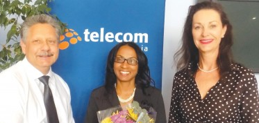 "As a key partner of the Namibia Businesswomen Projects, Telecom Namibia congratulated Baronice Hans for winning the Businesswoman of the Year 2015 Award as well as for leading in the Private and Corporate Sector category. Theo Klein, the Managing Director at Telecom Namibia stated, ""These outstanding accomplishments clearly show that she represents the best of Namibia's business community."" He added that ""by being an executive director at a leading financial institution, Baronice has met every challenge presented to her, proving herself to be a formidable business leader and an inspirational success,"" and wished Hans all the best for her future as Namibia's top businesswoman. (Photograph taken by Ibilola Odunlami.)"