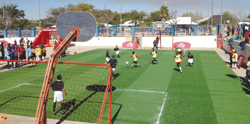 Tura kids enjoying themselves at last years KFC Football Beat at the UN Plaza in Katutura.