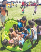 The centre of attraction and entertainment was this Fun Park, set-up specially for the orphans and vulnerable children attending the O&L OVC Christmas party at the coast.