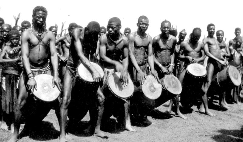 Traditional Kwanyama drummers captured on film in the early part of the 1900's. These photographs today reside in the National Archives. Many of these images have been incorporated into the film.