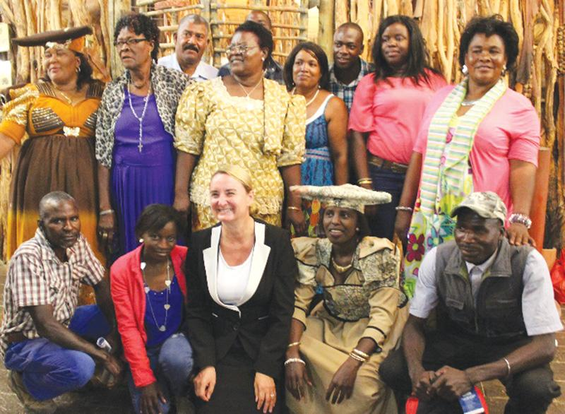 EU Ambassador-designate, HE Jana Hybaskova (centre front) enjoyed sharing the goodwill with the local community at a grant ceremony earlier this month where fourteen community projects from the Kunene Region received funding from the European Union.