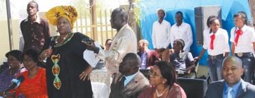 Governor Laura McLeod-Katjirua delivering her speech, Apostle Elison Mieze, Hon Priscila Boois and Mayor Muesee Kazapua.