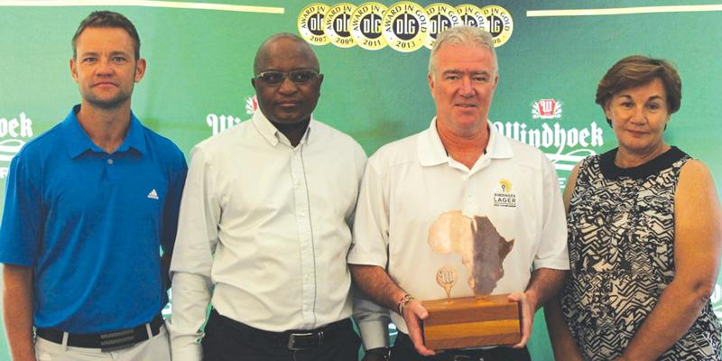 Director of Golf at the Windhoek Golf and Country Club Steve Basson, Vice-President of NAGU, Hafeni Nghinamwaami, Ian Stevenson, Global Sponsorship & Events Manager at NBL and President of the Namibian Amateur Ladies Golf Union, Thea Groenewald.