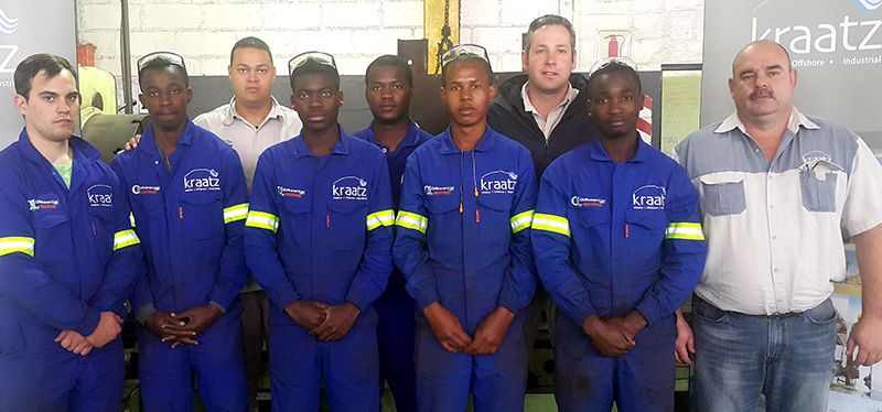 Front FLTR: Interns Arno Janse Van Rensburg,  Gabriel Haipumbu, Tangeniomwene Nghalipo,  Tobias Kashani and Lameka Nikanor are five of the six most recent intake of mining and technology students by Kraatz Marine. On the On the far right is Kobie Potgieter, General Manager for Marine & Offshore at Kraatz Marine.  In the back FLTR are Roberto January, Senior Human Capital Practitioner at Kraatz Marine; Frans Indji and Detlev Roesemann, General Manager for Industrial & Workshop at Kraatz.