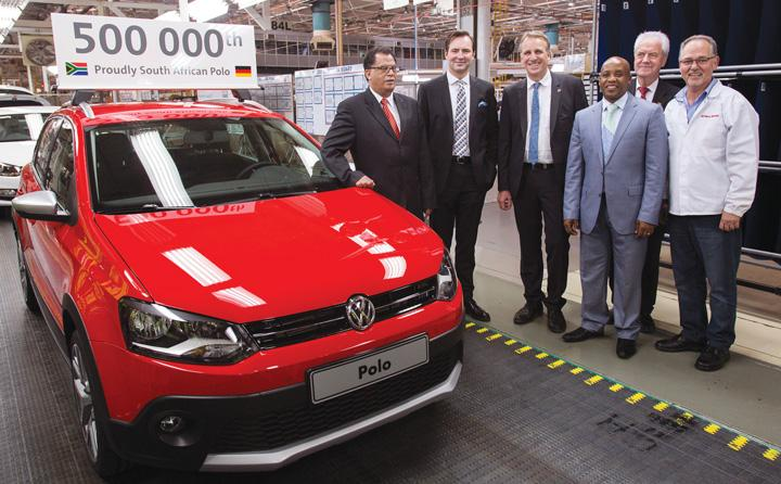 Witnessing the momentous occasion of half a million Volkswagen Polo's are from the left the Premier of the Eastern Cape Province in South Africa, Phumulo Masualle, deputy Premier of the German state, Niedersachsen, Stefan Wenzel, together with the Executive Mayor of the Nelson Mandela Metro, Danny Jordaan and the Managing Director of Volkswagen Group South Africa, Thomas Schaefer. This car was ordered by an Austrian national and left the assembly line on 22 October.