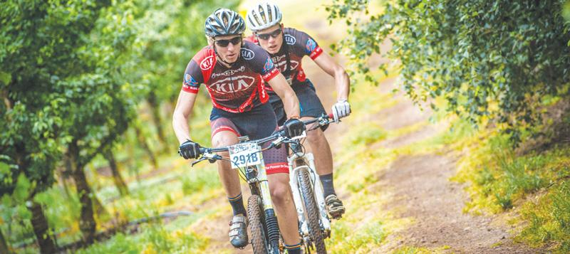 Michael Pretorius (front) and Martin Freyer will start in the Solo Category at the Desert Dash starting this Friday. The picture shows the pair during the 2015 FNB Wines2Whales Mountain Bike Adventure in South Africa. Pretorius and Freyer won that race.