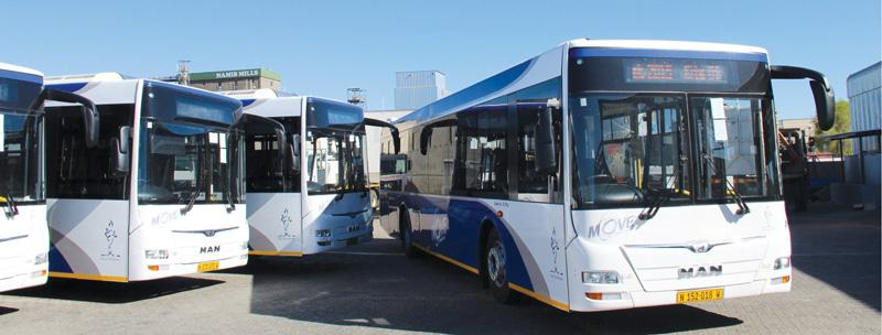 City buses ready to move
