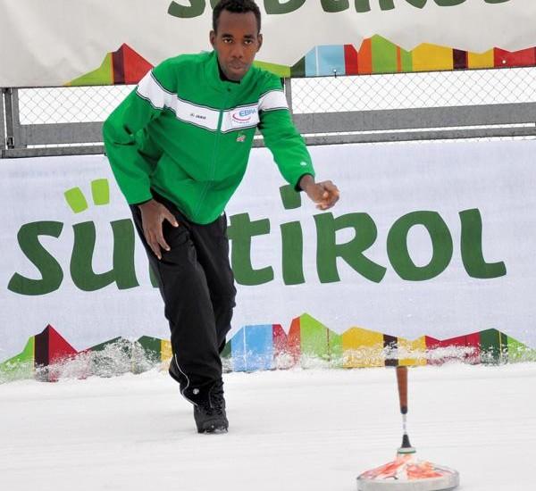Erastus Iileka recently at the Icestock world championships in Italy.