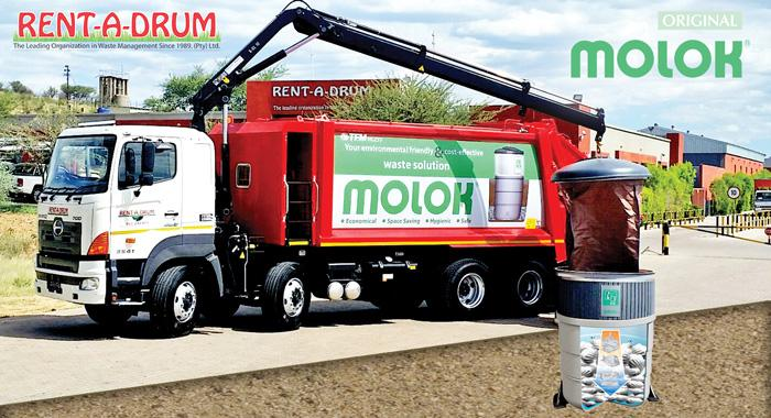 The new Molok truck and an illustration of the Molok Waste System