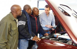 Master mechanic and Intea training officer, Stefan Trenkle with three of the twelve Namibian teachers who attended the course in automotive diagnostic technology at Automotive Training Service Intea in Kerpen, Germany. The teachers come from various local vocational schools. The group returned this week after completing the six-week course. Photograph by Auto Service Praxis Online