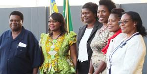 The Right Honourable Prime Minister, Dr Saara Kuugongelwa-Amadhila withthe Minister of Land Reform, Hon Utoni Nujoma (left) and the members of the Wangara Automotive Group, Justina Shingenge, Elizabeth Asino-Joseph, Esther McLeod, and Christophine Amukwaya. The group opened a new workshop in Windhoek's Prosperita industrial area last week. Wangara is owned only by women.