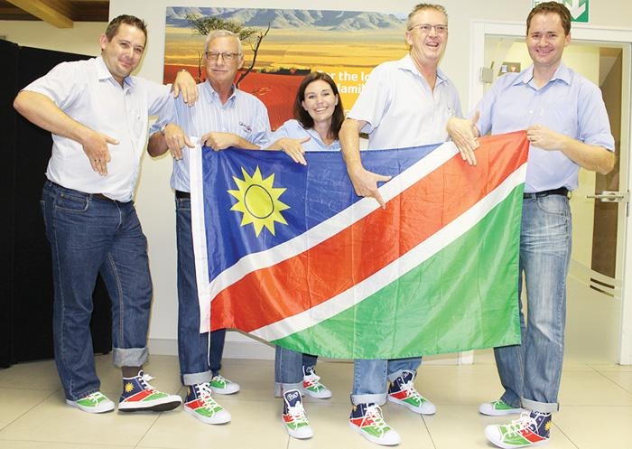 F.L.T.R. Namibia Dairies (ND) Managing Director, Norbert Wurm; ND Marketing Manager, Gilbert Botha; ND Human Capital Manager, Adri Erwee; ND Retail Manager, Stuart Ives and Waldemar von Lieres, Financial Director.