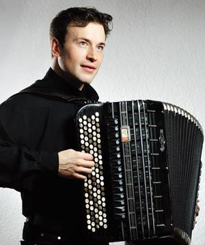 Anton Kryukov plays the Bayan, an instrument similar to the accordion but with buttons instead of keys, in the second half of the Classics @ the Castle concert.