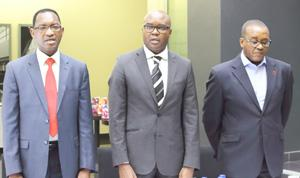 A vote against abuse of development finance. At the recent launch of the Development Bank of Namibia fraud and anti-corruption campaign, officiated by Paulus Noa of the ACC, a fraud line and  a box for fraud complaints were commissioned. Pictured above, DBN CEO Martin Inkumbi (middle) and ACC Director Paulus Noa (left) with Mr. John Jacobs, the Bank's Head of Risk and Compliance. (Photograph by Noriene van Wyk)