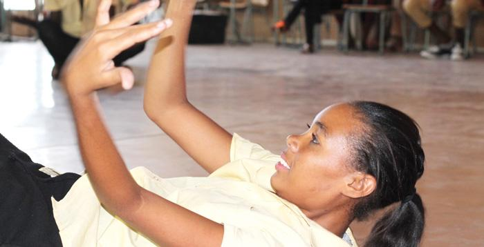 Michelle Kandingua in Teacher where she is literally floored in her attempt to protect herself from the advances of an older man. The OYO dance troupe is taking two of their stage works to the Maitisong Festival in Gaborone, Botswana, later this month.