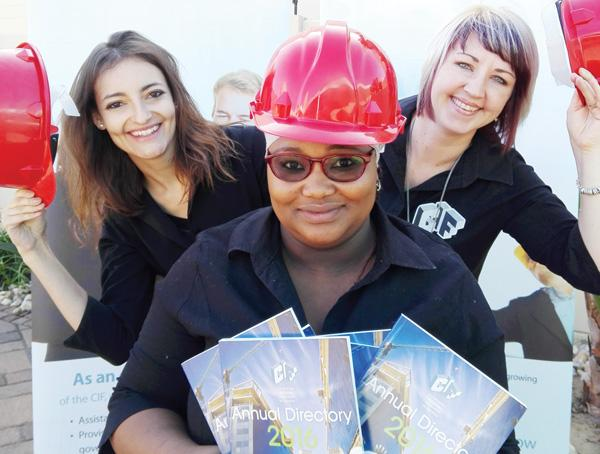 Sasha Louw (left), Latoya Garises (middle) and Yolandie du Preez this week celebrated the launch of the CIP Directory by the Construction Industries Federation. This tome is the definitive local reference for all players in construction.