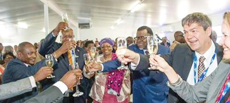 A jubilant crows joined the president to toast the opening of the new acid plant at Dundee Precious Metals Tsumeb.