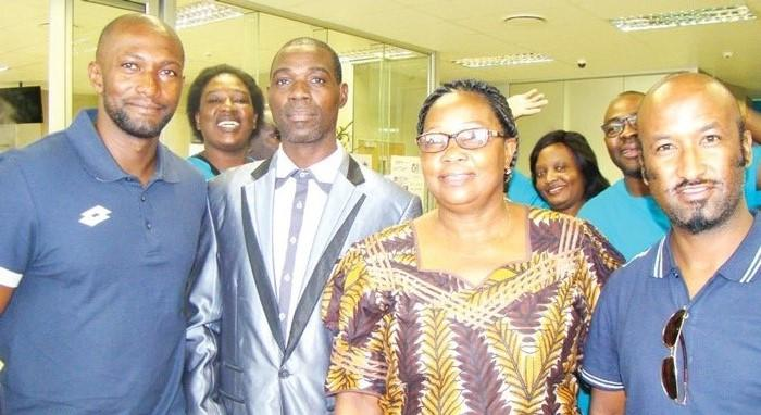 From left to right; Collin Benjamin, Chairperson of the Katima Mulilo council Shamalazza Lister, Mayor Georgina Mwiya and Lolo Goraseb.
