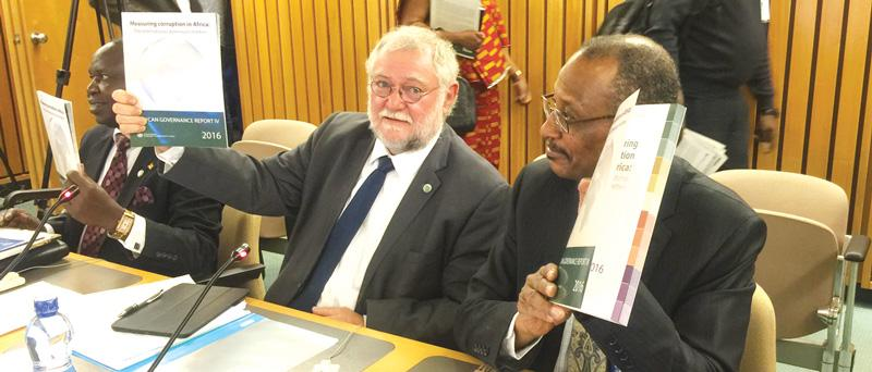 The Minister of Finance, Hon Calle Schlettwein (left) launched the fourth African Governance Report at the meeting of ministers on finance, economy and planning in Addis Ababa last week. The minister is assisted by Adam Elhiraika (right), the director of the macroeconomic policy division in the Economic Commission for Africa.