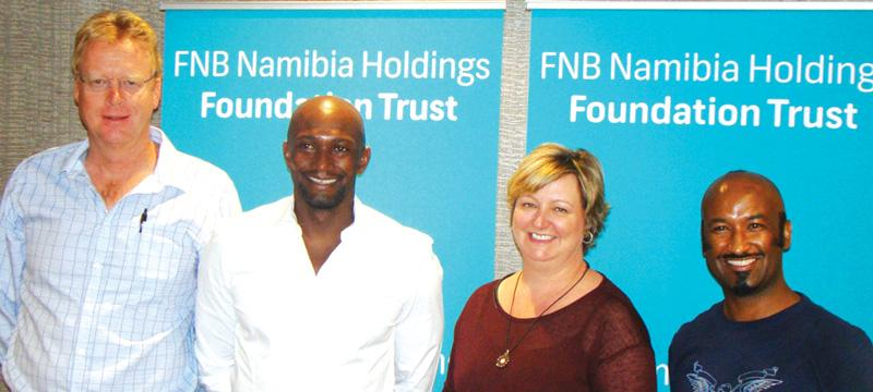 fltr: Harald Hecht, Chairman – Global United Charity Trust Namibia, Colling Benjamin, FNB Chief Marketing Officer Tracy Eagles, Lolo Goraseb