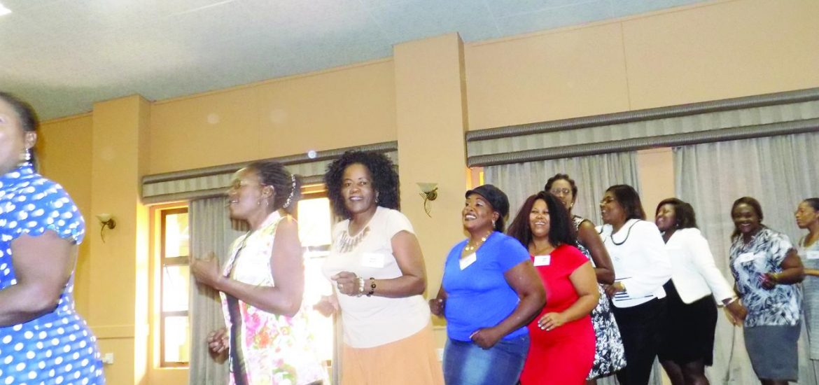 Women and Members of the Metal and Allied Namibian Workers Union (MANWU) celebrating their achievements at their second National Women Conference in Windhoek recently. (Photograph by Mandisa Rasmeni).