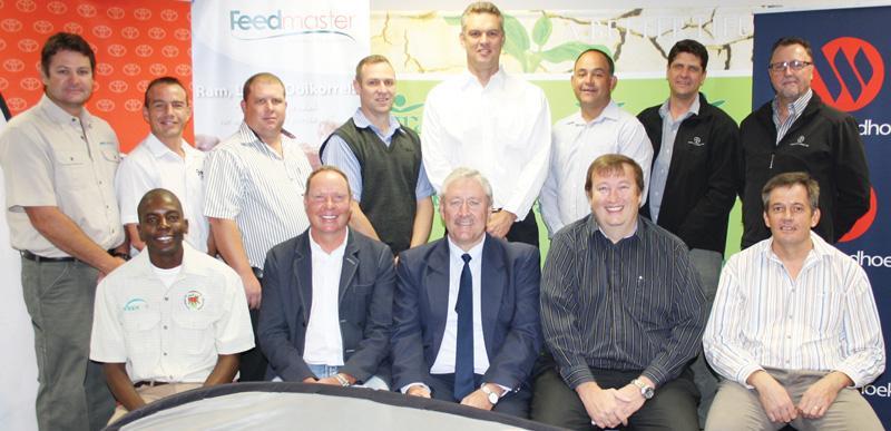 Standing, from the left: Herman Reinders (MARSCH), Hennie Brisley (MSD), Schalk van Greunen (Indongo Toyota), Danie Smith (MSD), Titus Koen (Agra), Wessel Kotze (Sanlam), Dunell Pienaar (Bayer) and Heinrich Victor (Bayer). Seated are Frank Kanguatjivi (Feedmaster), Arnold Klein (Agra), Riaan van Rooyen (Bank Windhoek) and Hannes Smit (Santam).