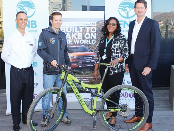 From left to right: Nicolai Celento - Sales Manager Novel Ford, Hans du Toit - Committee Member of Rock and Rut Cycling Club, Revonia Kahivere CSI Manager FNB and Conrad Dempsey - Chairperson: Rock and Rut Cycling Club at the launch last week.