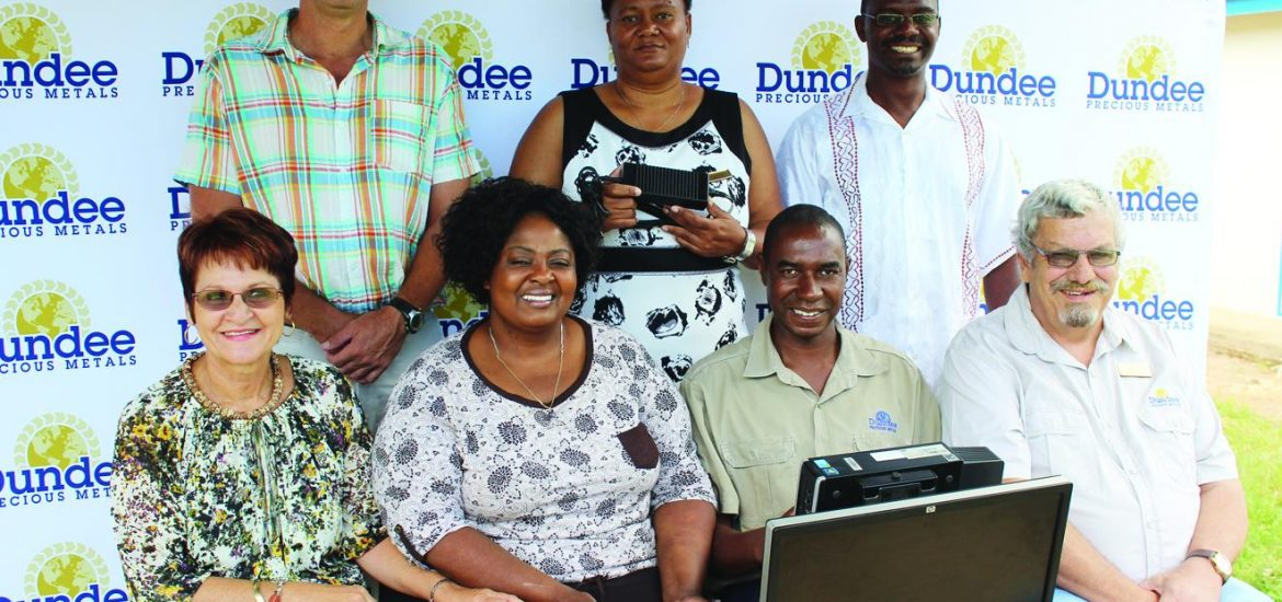 André Strüwig (front left), the Administrator of the DPMT Community Trust with the Dundee Precious Metals Information Manager, Lot Muteka next to him, this week presented computers to the headmasters of five schools in Tsumeb. Standing at the back, from the left are Mr. Wouter Niehaus (Tsumeb Gimnasium Private School), Ms. Elizabeth Murorua (Tsumeb Secondary School) and Mr. Andris Kaishungu (Etosha Secondary School). Seated in the left front are Ms. Cornelie Erasmus (Francis Galton Primary School) and Mrs. Hermien Benjamin (Opawa Junior Secondary School).