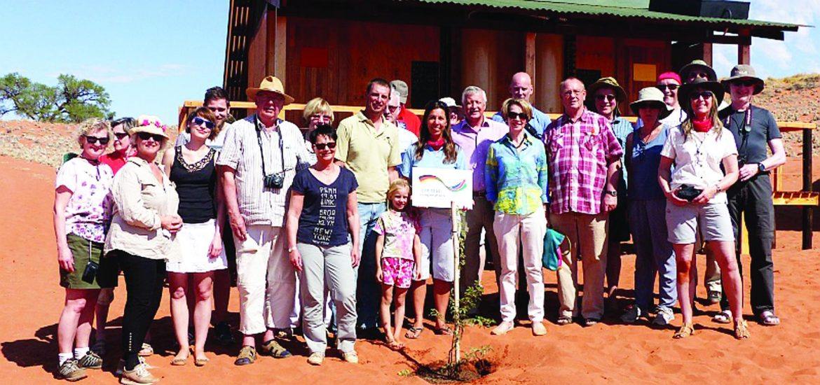 The Group at NaDEET at the tree planting ceremony last week. The German Embassy in Windhoek supported the construction and renovation of the washrooms in the framework of its micro-project fund with N$ 350,000.