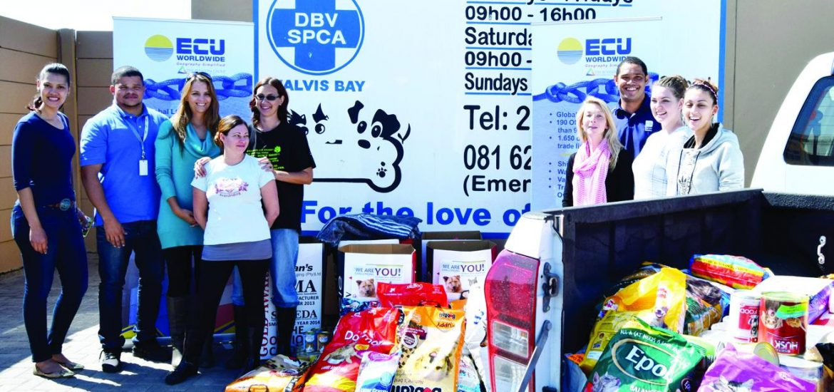More than a 1000kg of canned and dry pet food was collected in a recent charity drive by the shipping line, ECU-line. The charity drive was part of the company's international rebranding campaign. Its objective was to collect as much pet food as possible for the SPCA kennels in Walvis Bay and Windhoek.