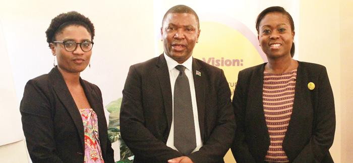 From the left, Maria Immanuel, the trade and investment policy analyst at the Namibia Trade Forum, Ono-Robby Nangolo, a procurement legal expert in the Ministry of Finance, and the forum's CEO, Ndiitah Nghipondoka-Robiati. Earlier this week, the forum arranged Public Private dialogue for the manufacturing sector.