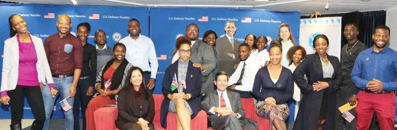 The 2016 Mandela Washington Fellows who will represent Namibia are pictured with U.S. Embassy Public Affairs Officer Priscilla Hernandez (seated front left) and U.S. Ambassador Thomas Daughton (seated front right). Namibia's 2016 Mandela Washington Fellows include (left to right):Joan Biwa, Ricardo Amunjera, Rosalia Neshuku, Immanuel Hango, Ailly Namupala, Tulimelila Shityuwete, Tulongeni Pohamba, Mandela Kapere, Roline Tjipueja, Reginald Roman, Julia Amukoshi, Emilie Iyambo, Anel van der Vyver, Kileni Fernando, Ndahafa Hapulile, Alphons Koruhama and Bernardus Harageib and Jo-Ann Van Wyk. (Taleni Shimhopileni and Namasiku Bainga not pictured).