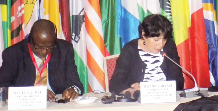 Hon. Netty Baldeh (left), elected member of the National Assembly of Gambia and Co-President of the ACP-EU delegation and Hon. Michèle Rivasi, Vice-President of the EU Delegation to the ACP-EU Joint Parliamentary Assembly speaking at a press conference held earlier this week.