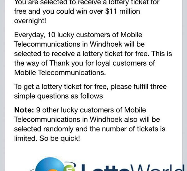 A screen shot of a craftily designed message sent to many clients of MTC promising the recipient a chance to win a fake US$11 million. The message does not explicitly states it originates from MTC but is worded in such a way that it suggests authenticity. The mobile telecommunications operator this week issued a warning to all smartphone users to watch out for this message, advising customers that it is a scam contrived to entice them to furnish their personal details.