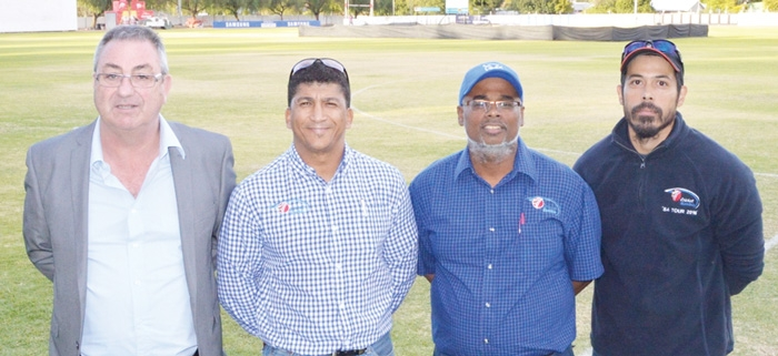 Cricket Namibia: Re-elected President  Richard Frankle, CEO Donovan Zealand, national team coach Dyanand Thakur as well as physiotherapist and fitness conditioning coach Clint Henry (f.l.t.r.) look foward to the future.