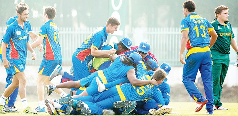 The Namibian U/19 in celebratory mode during their  World Cup encounter earlier in the year