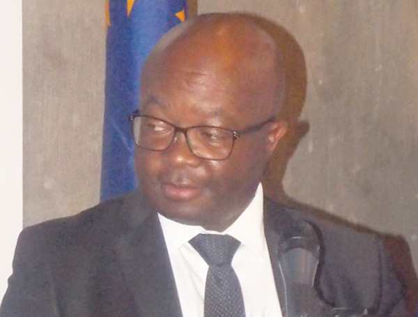 Honourable Obeth Kandjoze, Minister of Mines and Energy at Park Talk series focusing Renewable Energy on 28 June 2016. (Photograph by Mandisa Rasmeni).