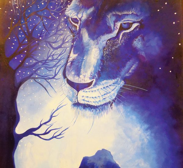 Midnight Blues – Shoombe showcases his great paintings by using monochromes of blue to paint animals.