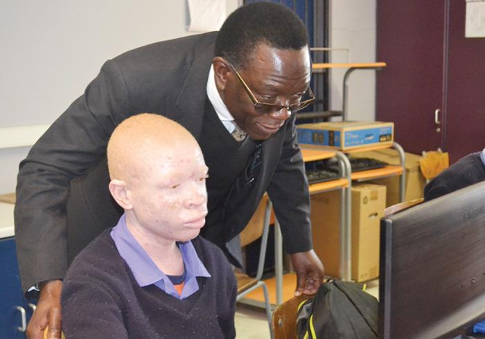 CRAN CEO, Festus Mbandeka shared the joy of the learners at the School for the Visually Impaired when they first worked on their new computers