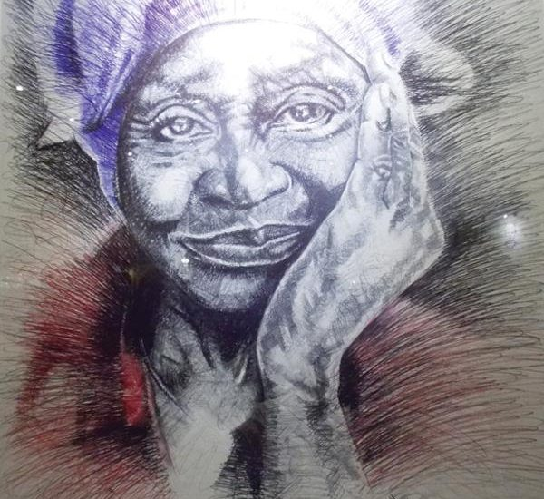 Hage Mukwendje uses normal everyday ink pens in different colours to make large canvases of strikingly beautiful portraits. (Photograph by Zorena Jantze)