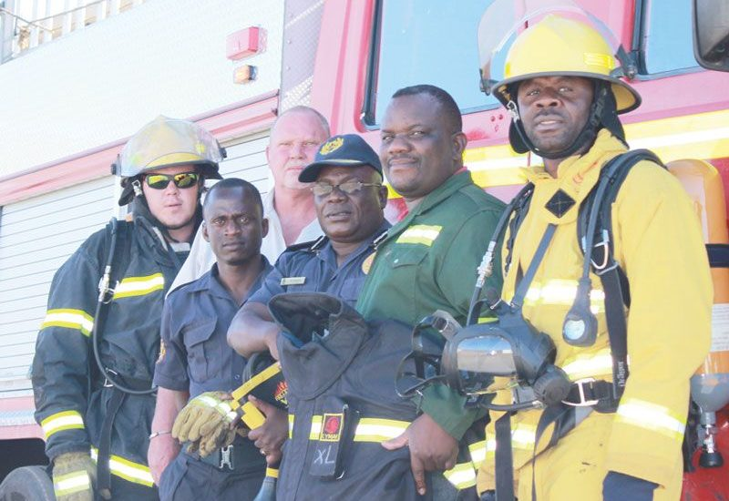 From the left, Jan Prinsloo, Quinton Galloway, Timoteus Wangolo, Mathew Shikewa, Alfeus Gariseb and Martin Titus. The group comprises Dundee Precious Metals own firefighters and Tsumeb municipality fire officers.